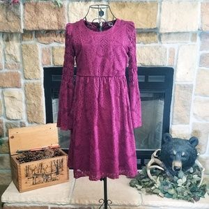 Girls Wine Lace Dress